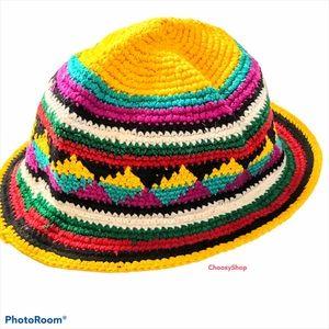 Crochet South American Bright Multi Bucket Hat